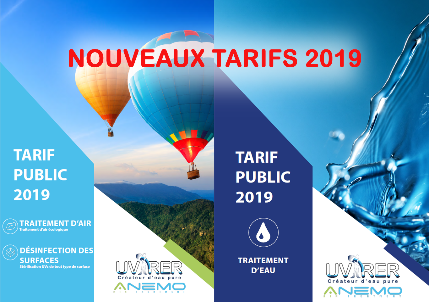 traitement eau ,air désinfection surface tarif 2019